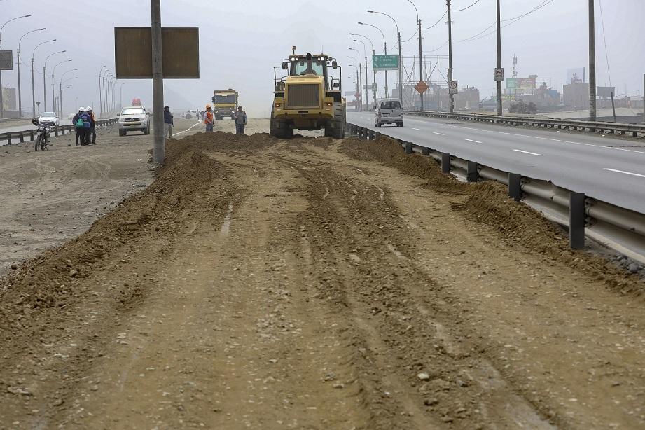 Trabajos ante cierre de tramo de la carretera central