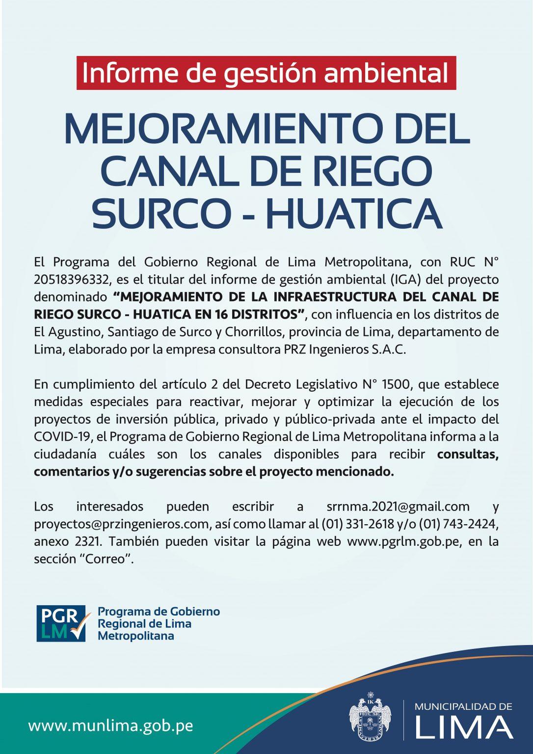 Canal Surco Huatica